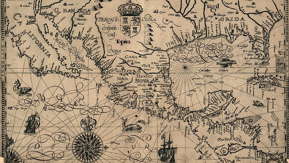 Mapa de Centro y parte de Norte América de 1600