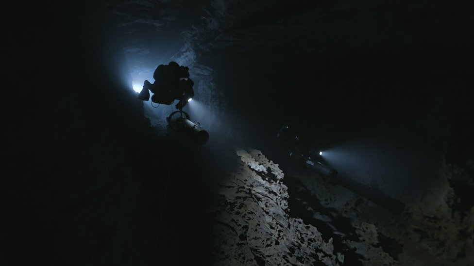 Diving in the Plura caves