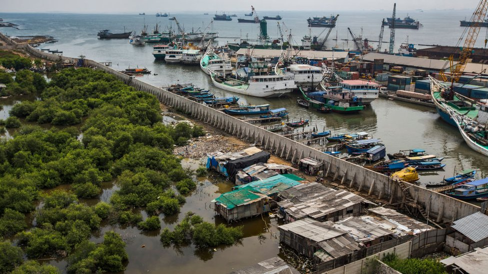 Aerial picture of Jakarta's giant sea wall