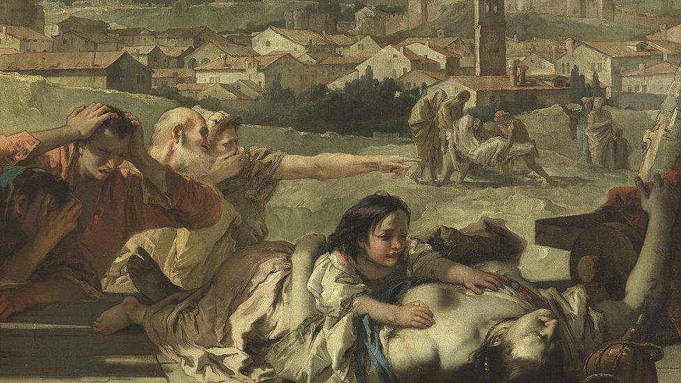 Representación pictórica de la peste en Italia.