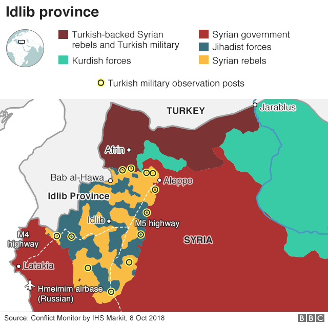 Map shows areas of control in Syria's Idlib province as of 8 October 2018