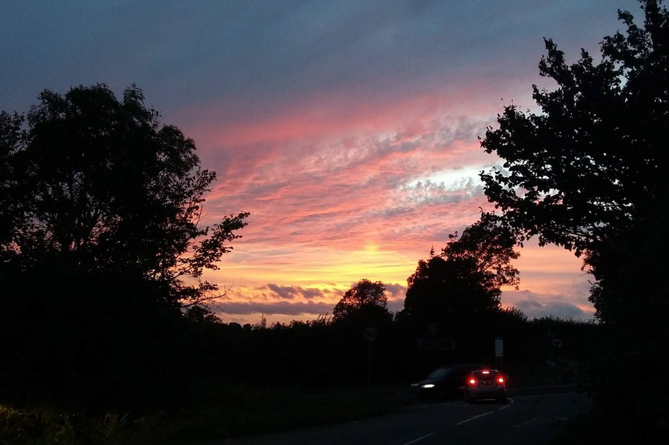Sunset over the roads