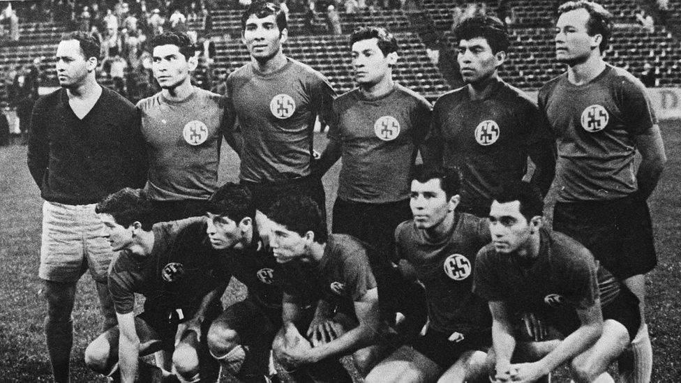 El Salvador's football team ahead of the deciding match with Honduras in June 1969