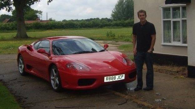 Jacyn Heavens with his Ferrari