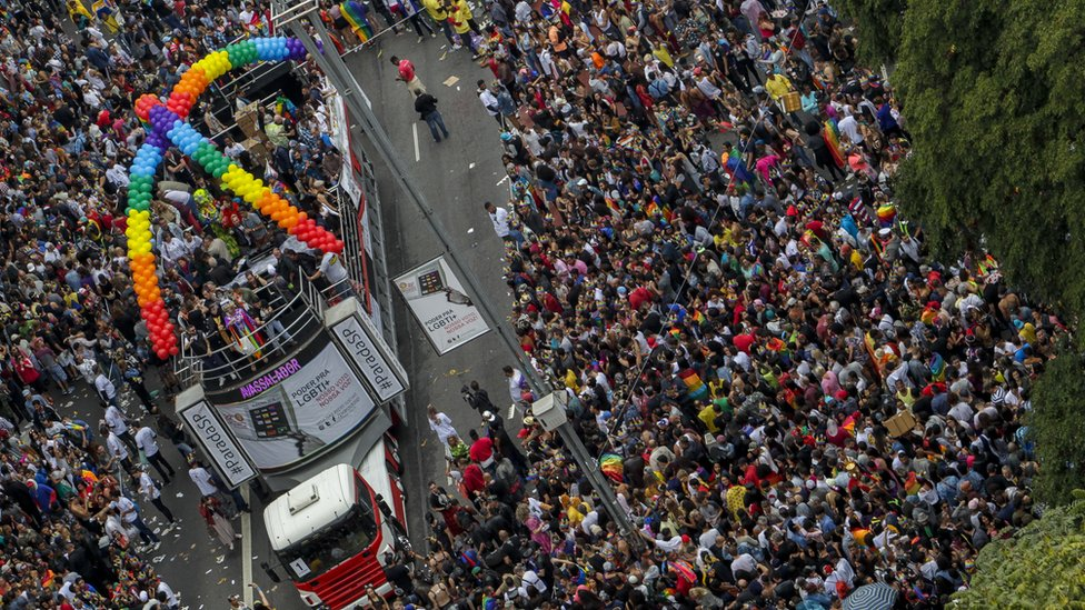 Thousands of revellers take part in the 22nd Gay Pride Parade, in Sao Paulo, Brazil, 3 June 2018
