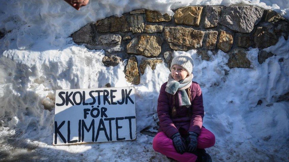 Greta Thunberg and banner at Davos