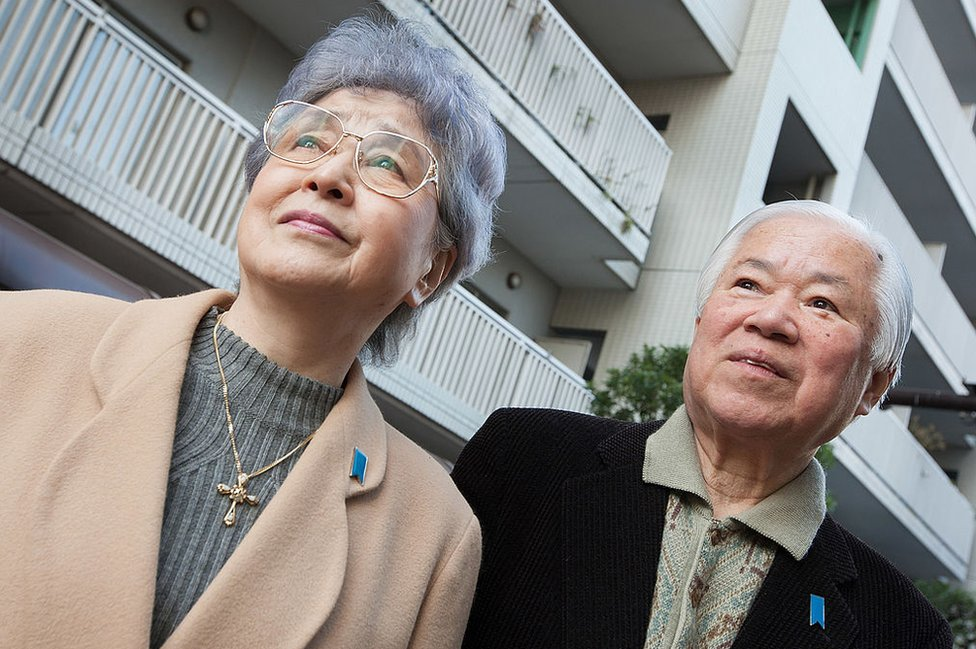 Shigeru Yokota and wife Sakie (L), parents of daughter Megumi who was abducted in 1977 by North Korea, outside their home in Tokyo on February 09, 2011