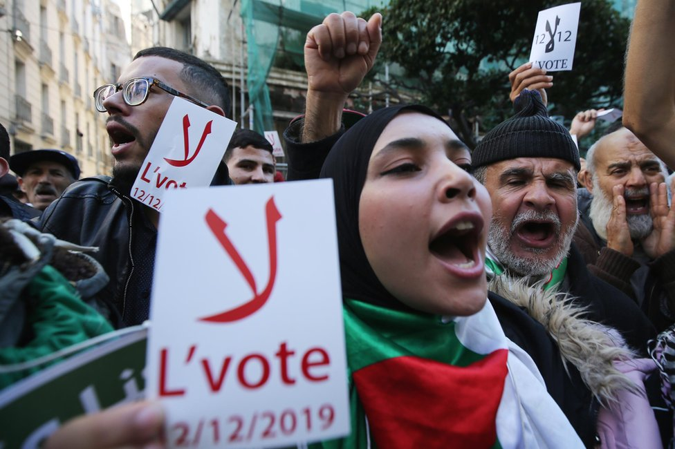 Anti-election protesters in Algiers, Algeria - Tuesday 26 November 2019