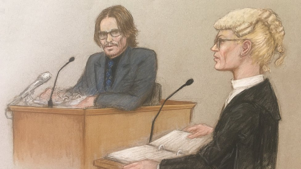Court drawing of Johnny Depp and Sasha Wass QC.