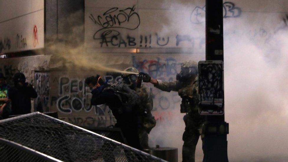 Federal law enforcement officers fire tear gas in Portland