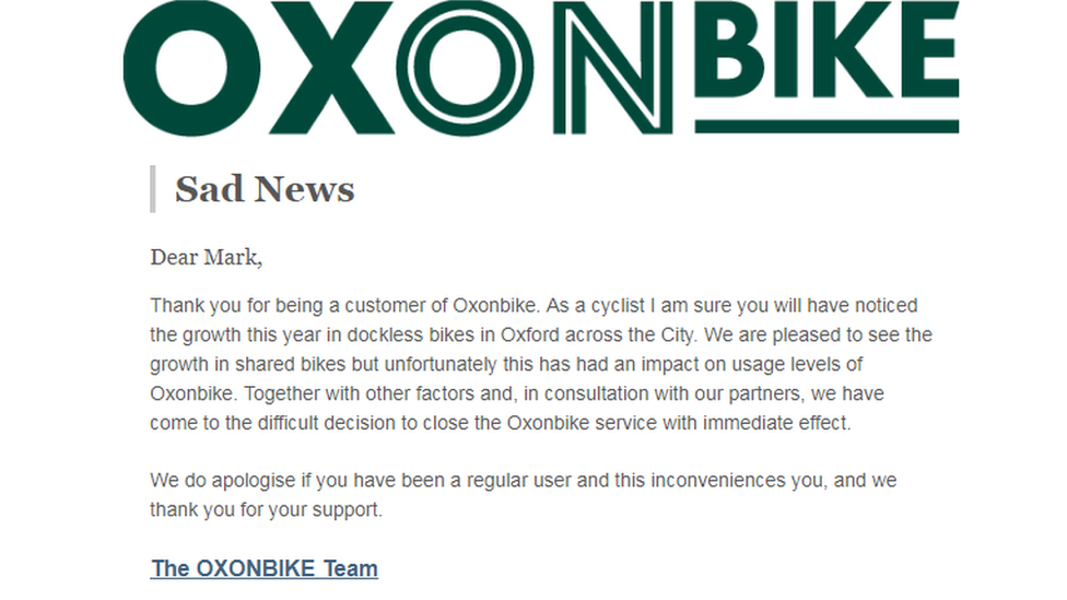 Email from Oxonbike