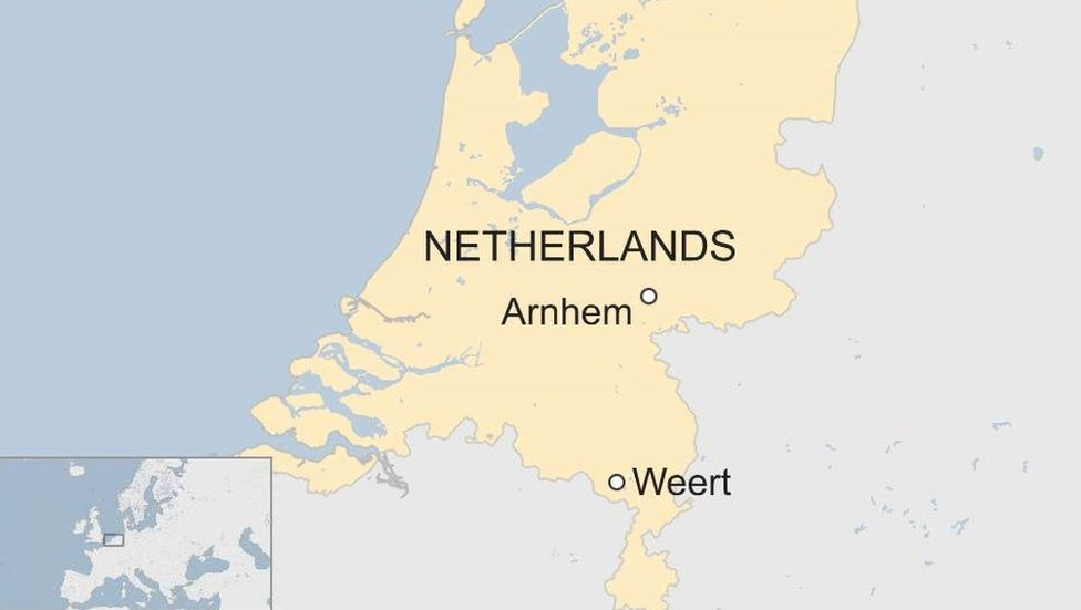 Map of Netherlands with Arnhem and Weert