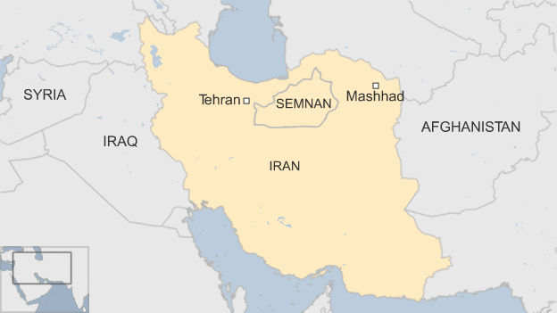 Map shows the Semnan province of Iran