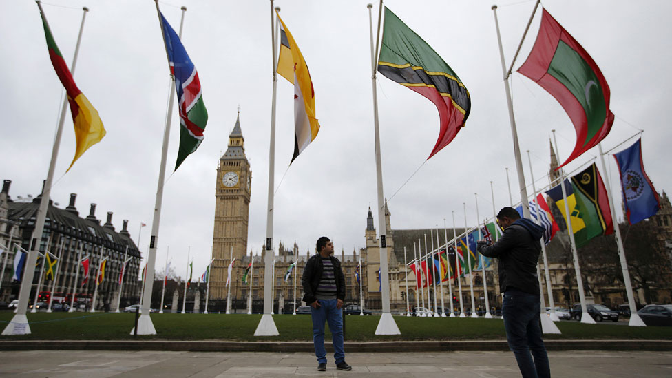 Commonwealth flags in Parliament Square, London