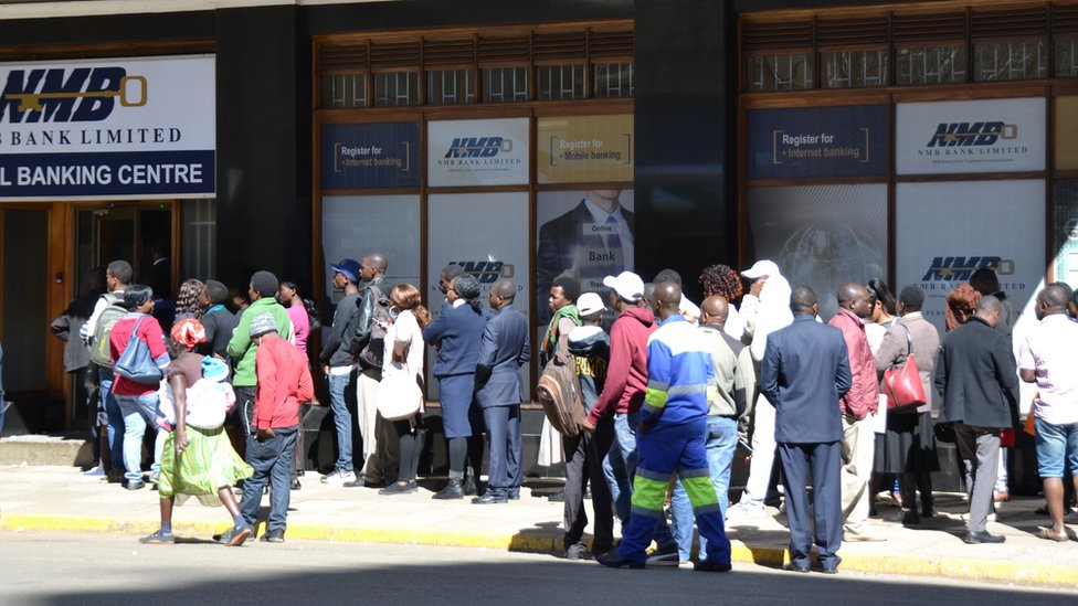 A queue at a bank in Harare, Zimbabwe