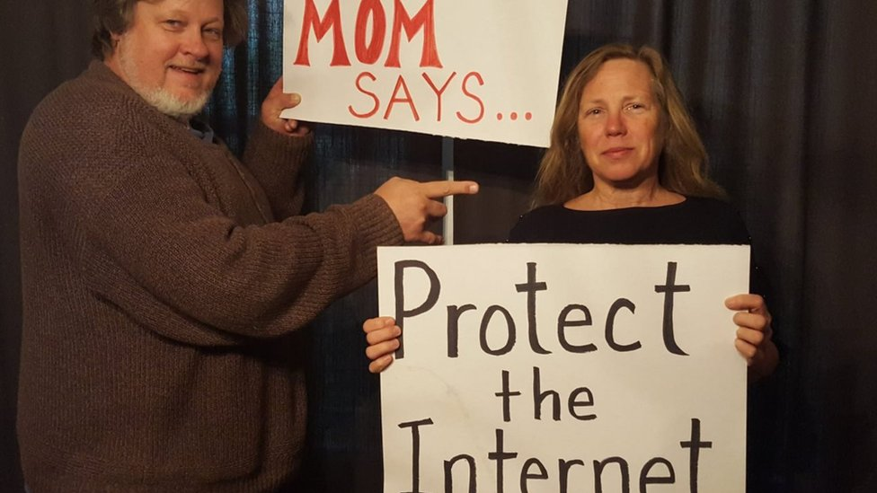 picture of a programmer with his mother. Campaigners for net neutrality enlisted the help of their mothers to get their voices heard during a Mother's Day flurry of activity