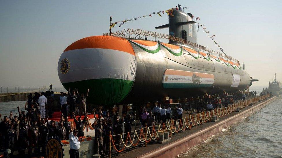 India está construyendo seis submarinos como el de la imagen, un diseño franco-español.