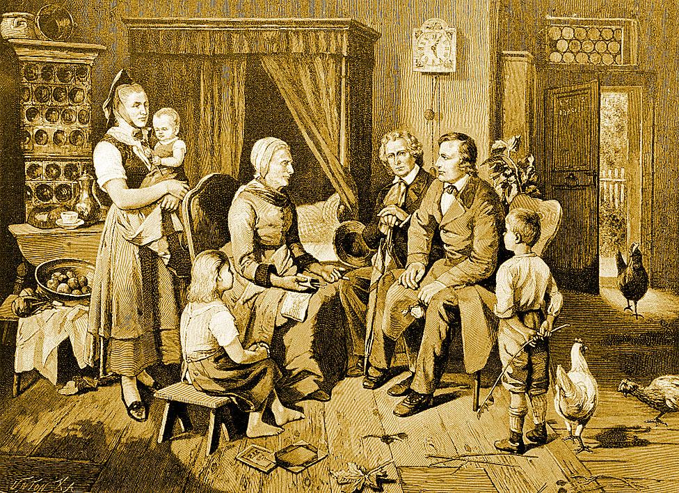 los hermanos Grimm escuchando las historias de la señora Biehmann, una cuentacuentos de la ciudad de Niederzwehren