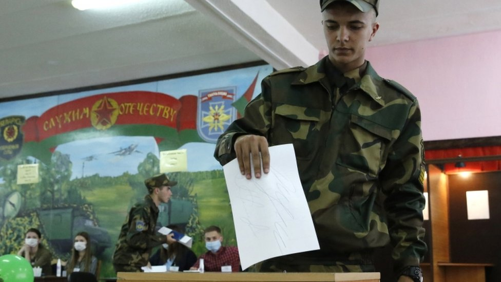 Soldier casting his ballot