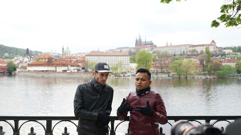 During filming of 'Haramain Backpackers - Trans Siberian'