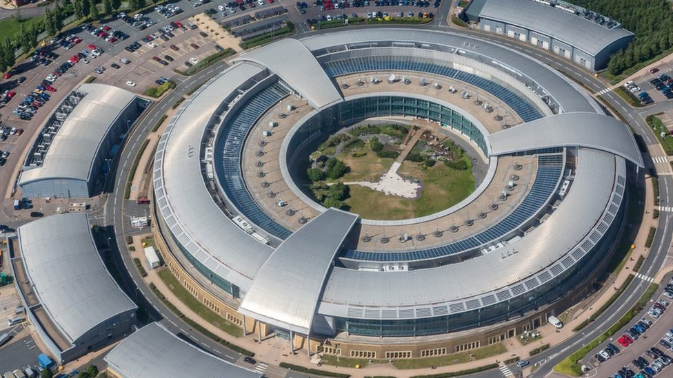 An aerial shot of GCHQ in Cheltenham, with its distinctive donut shape