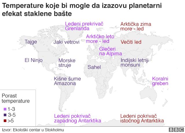 Mapa na kojoj su temperature koje bi mogle da izazovu planetarni efekat staklene bašte