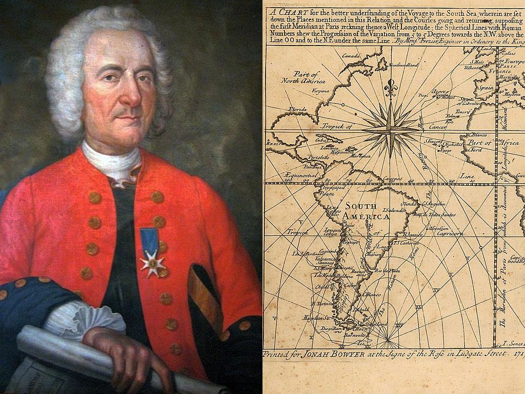 """Frézier y la frontispicio de su libro """"Un viaje al Mar del Sur y a lo largo de las costas de Chile y Perú, en los años 1712, 1713 y 1714""""."""