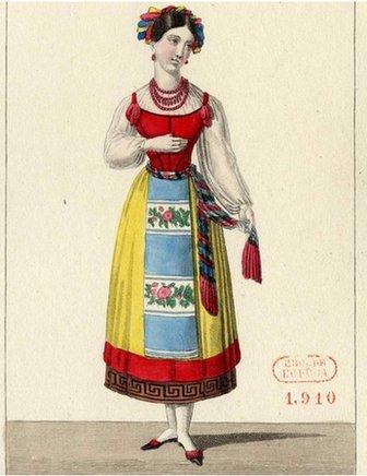 Costume design for the opera La muette de Portici by Daniel Auber, 1828