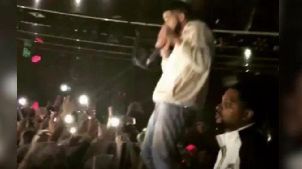 Drake confronts groper during set
