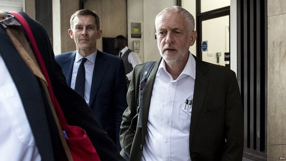 Jeremy Corbyn arriving at a meeting at Labour's headquarters
