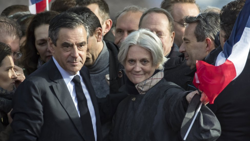 Francois and Penelope Fillon at the Trocadero in Paris on 5 March
