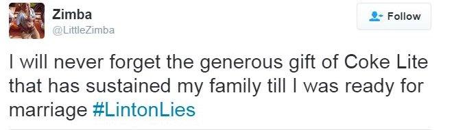 Tweet saying gift of coke lite sustained Little Zimba until marriage