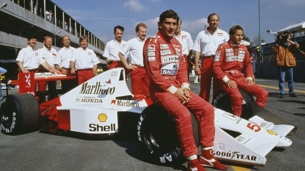 Ayrton Senna and McLaren team, pictured in 1990