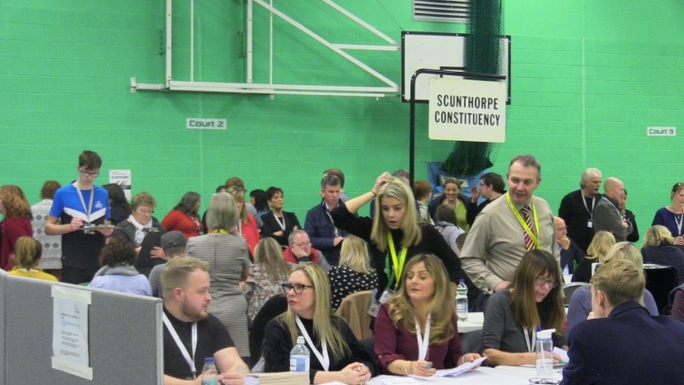 The podium at The Pods in Scunthorpe during the count in the 2019 General Election.