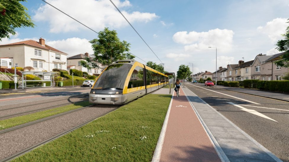 Visualisation of a tram on Edinburgh Road in Glasgow