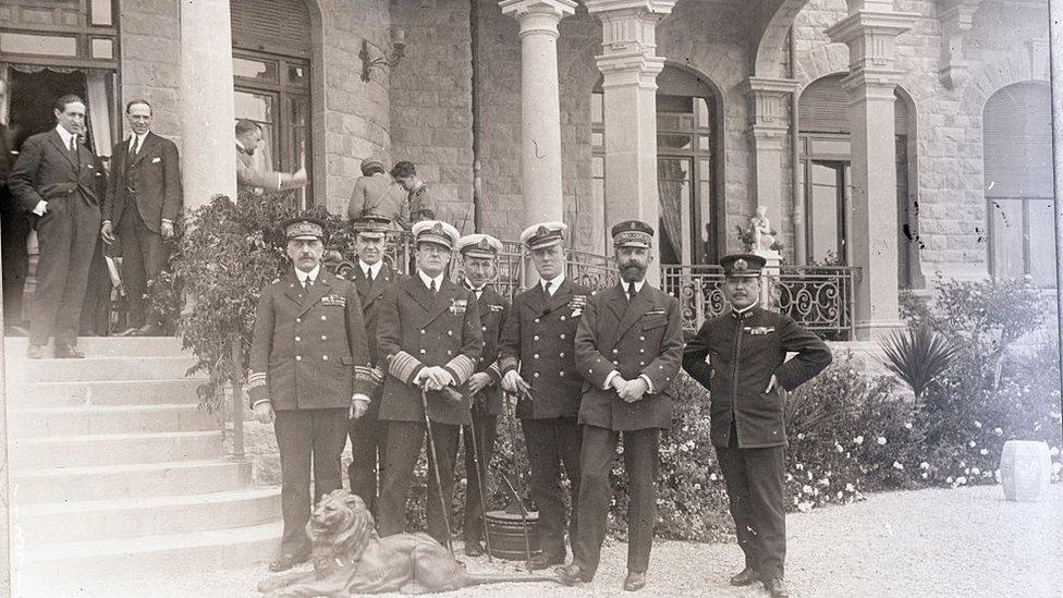 Líderes europeos y de la Liga de Naciones reunidos en San Remo, el 17 de abril de 1920.