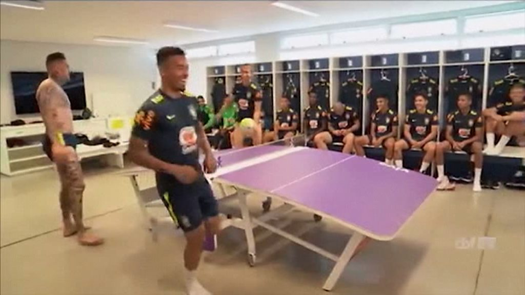Neymar, Gabriel Jesus, Filipe Luis and Ederson play table football