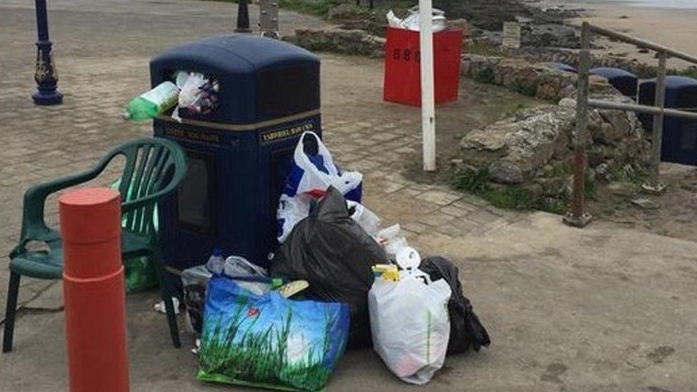 Litter left at Rest Bay, Porthcawl