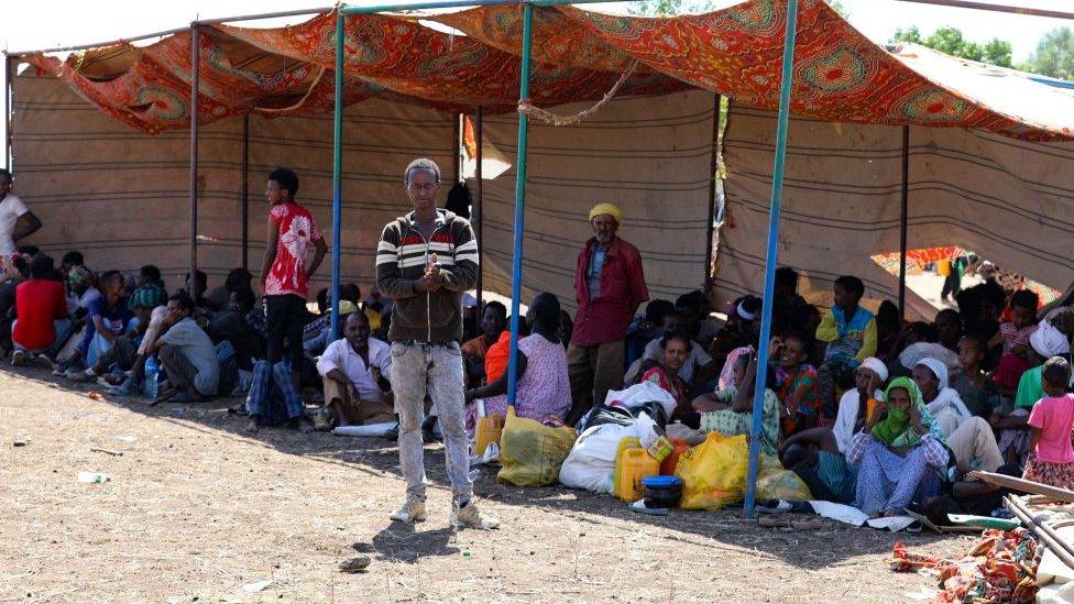 Refugiados etíopes en Sudán el 12 de noviembre.