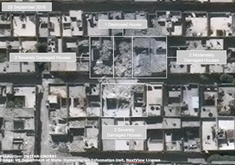 Satellite image of damaged houses in the Ayn al-Tal district of Aleppo on 25 September
