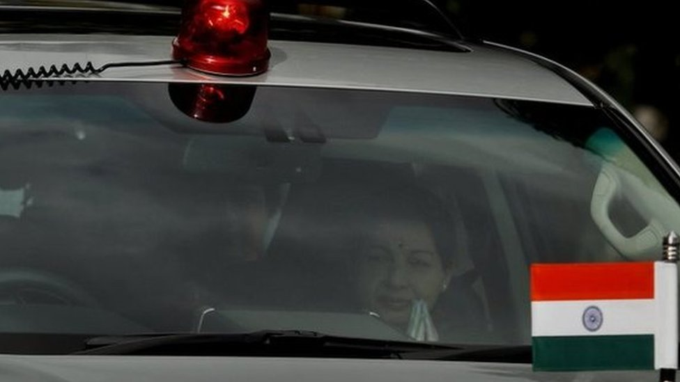 Jayalalitha being driven in her car in Chennai (September 2014)
