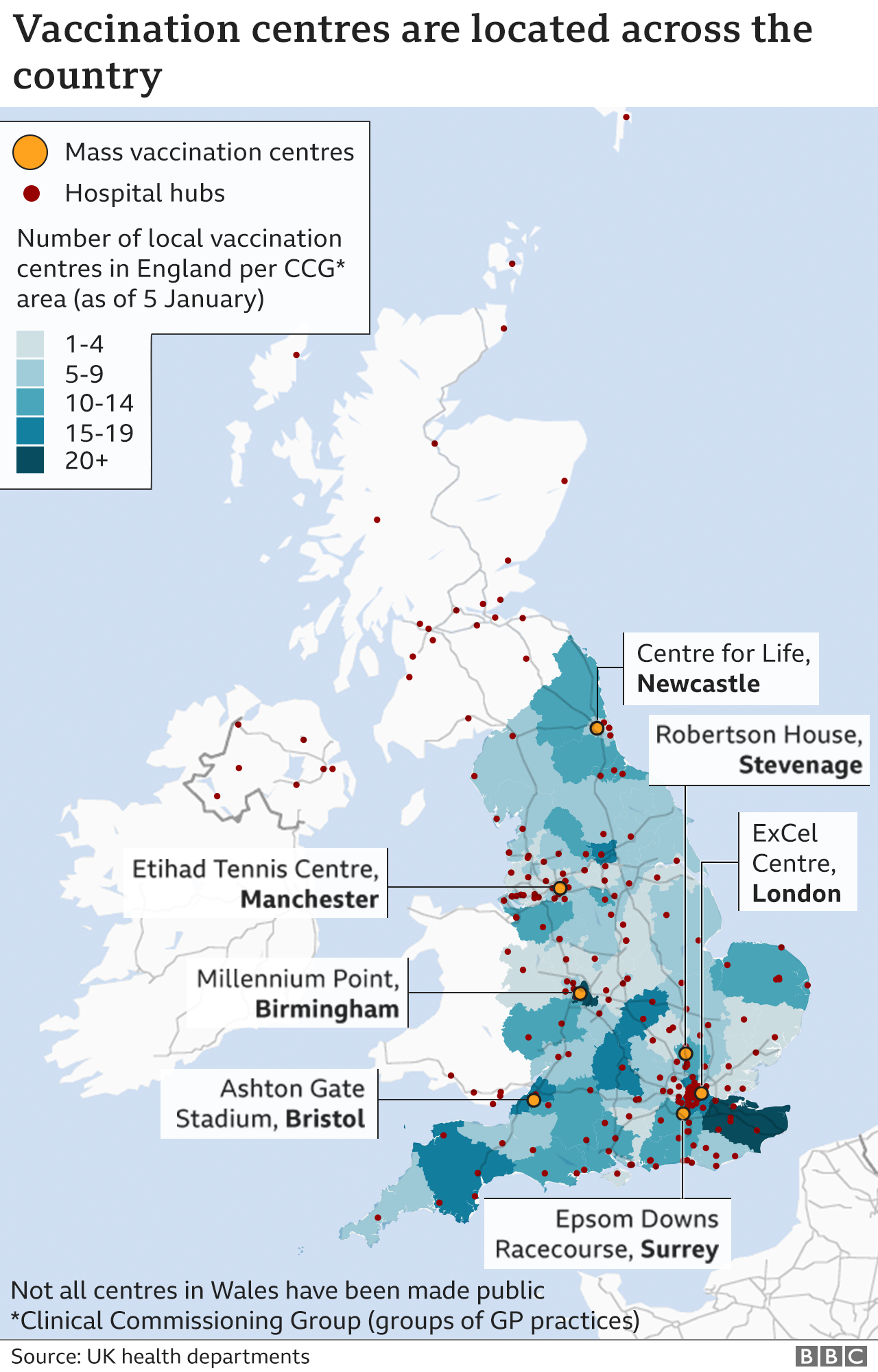 Map showing where England's vaccination centres and mass vaccination sites are, as well as the UK's hospital hubs
