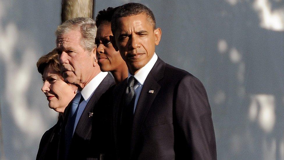 Laura Bush, George W. Bush, Michelle Obama y Barack Obama