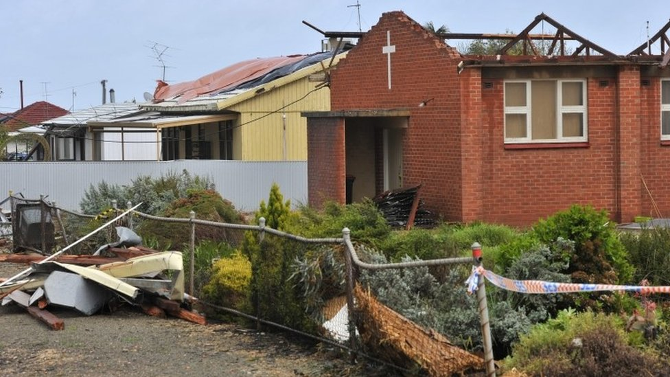 A general view shows storm damage in the town of Blyth, South Australia, Australia, 29 September 2016.