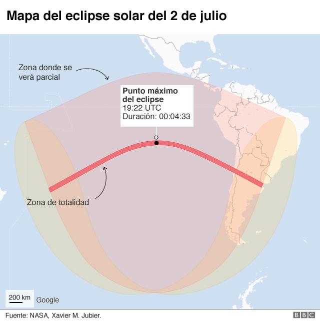 Mapa del eclipse del 2 de julio