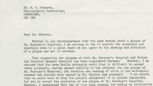Carta enviada por las autoridades de salud de Oldham a Edwards