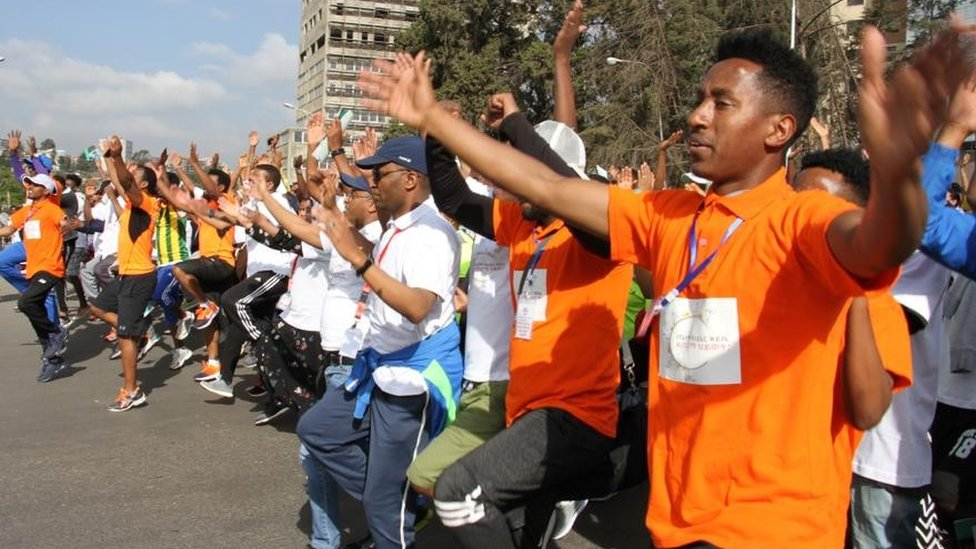 Ethiopians exercising in Addis Ababa