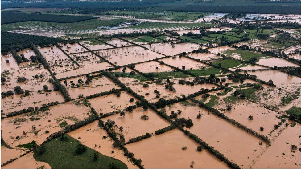 Una inundación en Guatemala