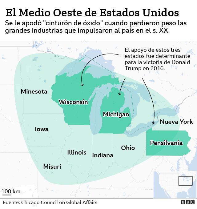 mapa del Medio Oeste