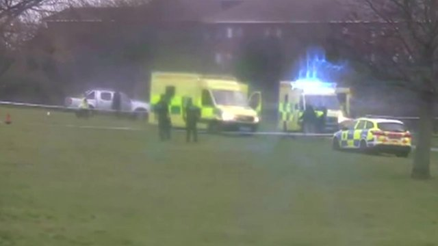 Emergency teams after bouncy castle accident
